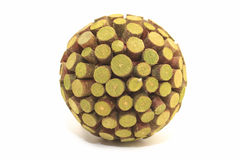 Green wooden sphere good as a background stock images