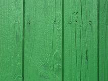 Green wooden wall. Wooden wall painted green. Nails visible Stock Image