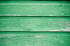 Green wooden wall Stock Photo