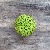 Green wooden wicker ball eco conceptual Royalty Free Stock Photos