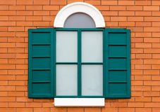 Green wooden window Stock Image