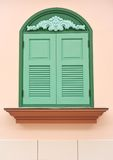 Green wooden window. And background Royalty Free Stock Photography
