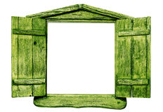 Green wooden window. Stock Images