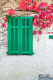 Green wooden window and red leaves in autumn Royalty Free Stock Photo