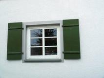 Green wooden window shutters Stock Image