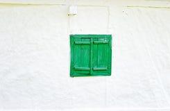 Green Wooden Window Shutters Stock Photo