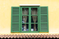 Green wooden window Royalty Free Stock Photo
