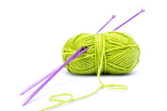 Green wool. With needles  on white background Stock Photography