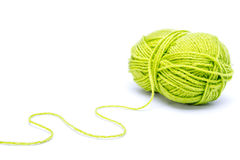 Green wool. Isoalted on white background Royalty Free Stock Images