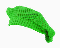 Green wool beret. Royalty Free Stock Photography