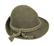 Green Wool Hat with Braided Rope on Brim. Path included stock photo