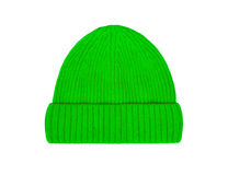 Green wool hat isolated on a white background. Green wool hat isolated on white background royalty free stock photography