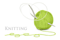 Green wool and knitting needles Royalty Free Stock Photo