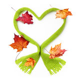 Green wool scarf heart shape Royalty Free Stock Image