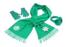 Green wool scarf, a pair of gloves and earmuffs nicely arranged. Stock Photos