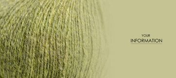 Green wool thread macro texture material pattern. Blur background stock image