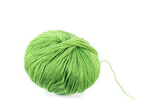 Green wool yarn ball. Isolated on a white background Royalty Free Stock Images