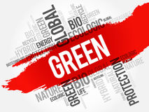 GREEN word cloud Royalty Free Stock Images
