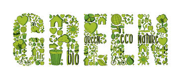 Green word with environmental icons Royalty Free Stock Photography