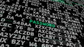 Green Word -Password- on a Black. 3d illustration. Green Word -Password- between searching of abstract passwords or combinations codes or confidential keys Royalty Free Stock Photography