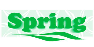 Green word \spring\ Stock Photos
