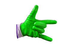 Green work gloves isolated Royalty Free Stock Photos