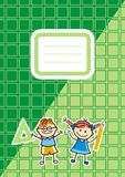 Green workbook with name tag, vector icon Royalty Free Stock Images