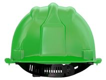 Green worker helmet of a construction site on a white background 3d rendering vector illustration