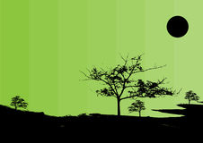 Green world. Environmental vector illustration.A treeline in the forest Stock Photo