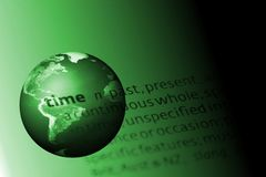 Green World. With the dictionary definition of time Royalty Free Stock Photos