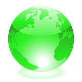 Green world. Glossy green world isolated on white Stock Image