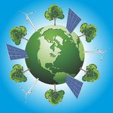 Green world. Concept with windturbine, solar panel and tree Stock Image