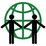 Green world. Concept illustration of two people holding hands in front of a green globe Stock Image