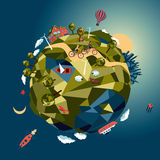 Green world. Bird eye view of a little planet. Isolated in a space royalty free illustration