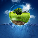 Green world into the bubble. Stock Image