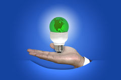 Green World with Business Hand concept Stock Photos