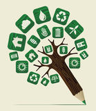 Green world concept pencil tree Stock Images