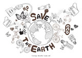 Green world drawing concept. Save the earth. Royalty Free Stock Photo
