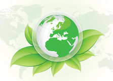 Green world and eco concept vector design. Green world concept and ecology in the word vector design Stock Illustration
