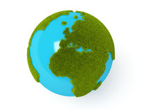 Green world globe. Green plant globe over white background Royalty Free Stock Photo