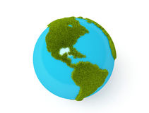 Green world globe. Green plant globe with north and south america over white background Royalty Free Stock Image
