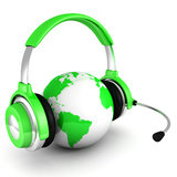 Green world globe with headphones and mic Royalty Free Stock Photo