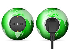Green world globe outlet socket Royalty Free Stock Photos