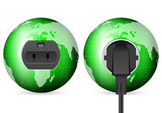 Green world globe outlet socket Stock Photography