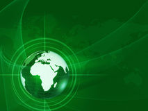 Green world globe in rays and net Stock Photos