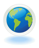 Green world icon. Planet Ecology web push button icon Stock Image