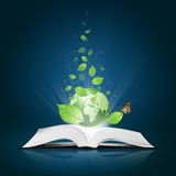 Green world and leaf have butterfly on book. Green world and leaf have butterfly on open white book royalty free stock photography