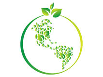Green world logo. Green leaves in the shape of the earth Stock Photos
