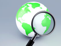Green world and a magnifying glass 3d. Image of Earth with magnifying glass 3d illustration Stock Image
