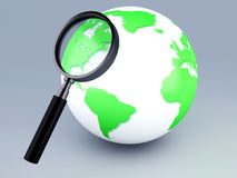 Green world and a magnifying glass 3d. Image of Earth with magnifying glass 3d illustration Royalty Free Stock Photo